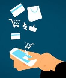 Schemat przedstawiający robienie zakupów przez internet